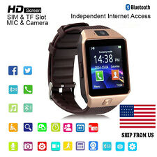 Gold Bluetooth Smart Watch GSM SIM for iPhone Watch lg Android Phone Mate