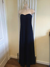 MISSGUIDED Stunning Navy Blue Strapless Bustier Pleated Chiffon Dress Size 10