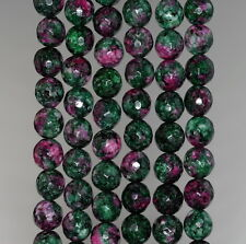 8MM SESAME JASPER GEMSTONE RUBY ZOISITE FACETED ROUND LOOSE BEADS 15""