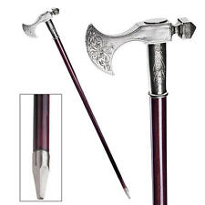 Solid Pewter Bavarian Axe Handle Polished Hardwood Cane Walking Stick