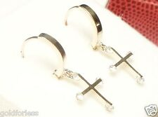 14Kt Solid White Gold 12MM Huggie Earrings w/DANGLING CZ CROSS.100% Guaranteed!