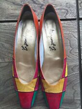 Margaret J Jerrold Shoes 11.5 S Vintage 1970's-80's Multi-Colored Leather Red Gr