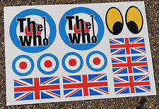 LAMBRETTA VESPA SCOOTER MOD The Who style sticker decal set Union Jack Roundels