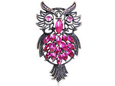 Vintage Repro Pink Crystal Rhinestone Marquise Feather Owl Pin Brooch B0238