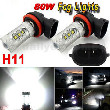2 X H11 80W CREE LED Fog Tail Driving Car Head Light Lamp Bulb Super White 6000K