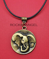 Vintage Bronze Plt Elephant Disc Pendant Leather Necklace Ladies Gift Zoology