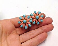 Wow! Natural Persian Turquoise and Angelskin Coral Large Omega Back Earrings