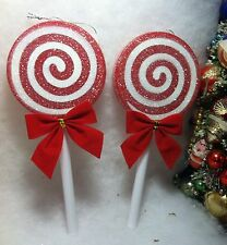 Red, White  Peppermint Lollipop Sugar Coated Christmas Tree Ornaments.  Large
