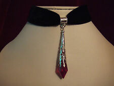 Necklace /Velvet choker with red crystal glass pendant. Gothic.Medieval.Vampire