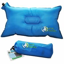 *NEW* PREMIUM Inflatable Travel Pillow + Carry Bag For Hiking Camping Plane Car