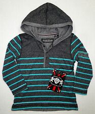 NWT ENGLISH LAUNDRY Little Boys Lions Crest Striped Hoodie Shirt Top Black Sz 4