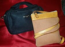 BVLGARI Bags: Lot 2 Brown Cross Body Pochette + Black Bulgari Parfums Faux Suede