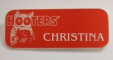 CHRISTINA - HOOTERS RESTAURANT GIRL ORANGE NAME TAG W/ WHITE LETTERS (PIN)