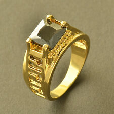 Wedding Band Yellow Black Mens Gold Filled Womens Square Crystal Ring Size 10
