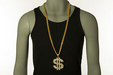 35 In 18K Men Hip Hop Rhinestones Chain Necklace Big Dollar Sign Money Pendant