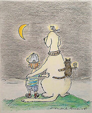 Art Greeting Card Boy Dog Labrador Bird Moon Cat Mouse Friends Children Picture