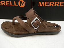 MERRELL WOMENS SANDALS AROUND TOWN THONG BUCKLE BROWN SIZE 10