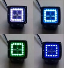 "2PC 3X3"" LED PODS CUBE MULTI COLOR CHANGE HALO KIT RGB LIGHT BAR WITH CONTROLLER"