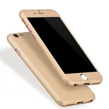 Gold Hybrid 360° Silicone Ultra Hard Thin Case Cover + Tempered Glass iPhone 7