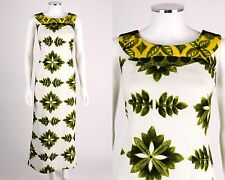 VTG 1960s HAWAIIAN WHITE GREEN YELLOW TROPICAL PINEAPPLE WATTEAU MAXI DRESS SZ S