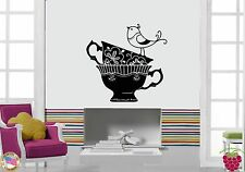 Wall Stickers Vinyl Decal Coffee Tea Cups With Bird Decor For Kitchen (z1859)