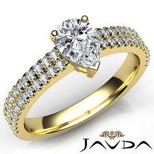 U Shape Prong Set Pear Cut Diamond Engagement Ring GIA F VS1 18k Yellow Gold 1Ct