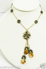 """14/20 Gold lobster claw clasp Tiger Eye Chocolate Pearl Necklace 16""""L & pendant"""