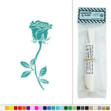 Rose Long Stemmed Flower Vinyl Sticker Decal Wall Art Décor