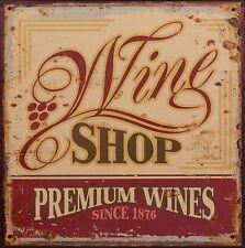 Blechschild - Wine Shop  Nostalgieschild-Deko- 30 cm x 30 cm