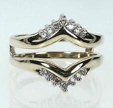 10K Yellow Gold Diamond .18CTTW Solitare Guard Ring Size 7 (B9927 VPL)