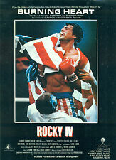 "ROCKY IV MOVIE "" BURNING HEART SURVIVOR "" P/V/G SHEET MUSIC W/STALLONE"
