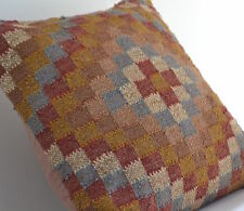 "Handmade Kilim Checks Floor Cushion Covers 20"" Wool Jute Indian Persian Moroccan"