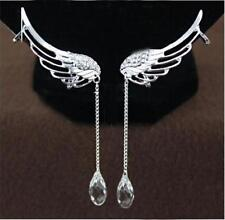 Women Angel Wing Crystal Silver Plated Earrings Drop Dangle Ear Stud Clip HY