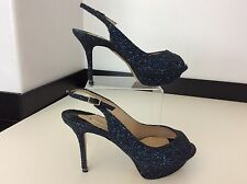 NICHOLAS KIRKWOOD Blue Glitter Peep Toes Heels Shoes New Bnwob Size 38.5 Uk 5.5