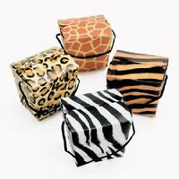 Set of 12 Animal Print Safari Treat Boxes Party Favors With Rope Handles