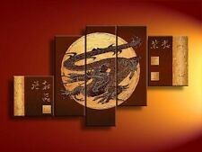 5 pieces Large canvas NO frame. Asian Art Oil Painting:dragon Wall Art Decor