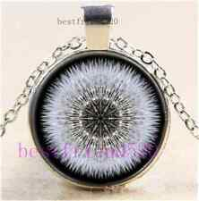 Dandelion Head Cabochon Glass Tibet Silver Chain Pendant Necklace