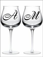 New 26 ALPHABET LETTER SET INITIALS wine glass vinyl stickers 18 Colour choice