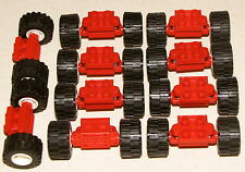 LEGO LOT OF 10 RED TOWN CITY WHEELS TIRE ASSEMBLIES WITH STOCKS STOCK ABSORBERS