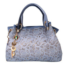 Women's Vintage Floral Hollow Out Shoulder Bags Ladies PU Leather Tote Bag