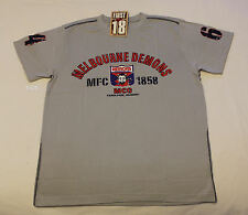 Melbourne Demons AFL First 18 Mens Grey Printed Short Sleeve T Shirt Size S New