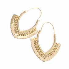 LONG EARRINGS DROP DANGLING gold disc chandalier hoop earrings abstract 30349