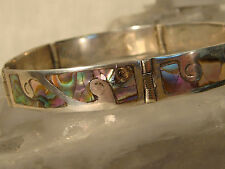 ABALONE STERLING LINKED BRACELET MEXICO SIGNED JPM ARTISAN HANDCRAFTED