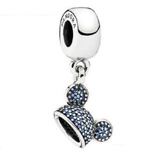 NEW Authentic Park Exclusive Pandora Bead Disney Blue Pave Mickey Ear Hat Charm!