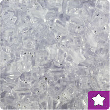 250 Crystal Clear Transparent 13mm Star Pony Beads Plastic Made in the USA