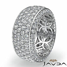 4 Row Round Pave Set Diamond Eternity Wedding Women 9.7mm Ring Platinum 3.5Ct