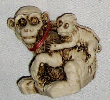 """Brown Polystone 1 3/4"""" Sitting Mother Monkey with Baby Figurine"""