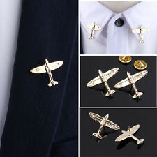 1 Pair Mens Metal Airplane Shape Neck Collar Tips Brooch Pin Clip Jewelry Gold
