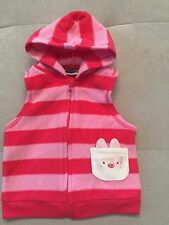 Baby Girl Bon Bebe Size 6-9 Month Pink Hoodie Vest Bunny