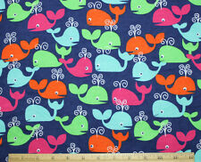 SNUGGLE FLANNEL*MULTI-COLOR SPOUTING WHALES on NAVY BLUE*100% Cotton Fabric BTY